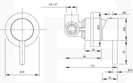 SOL-DEUS-M8 Handbrause Unterputzkoerper